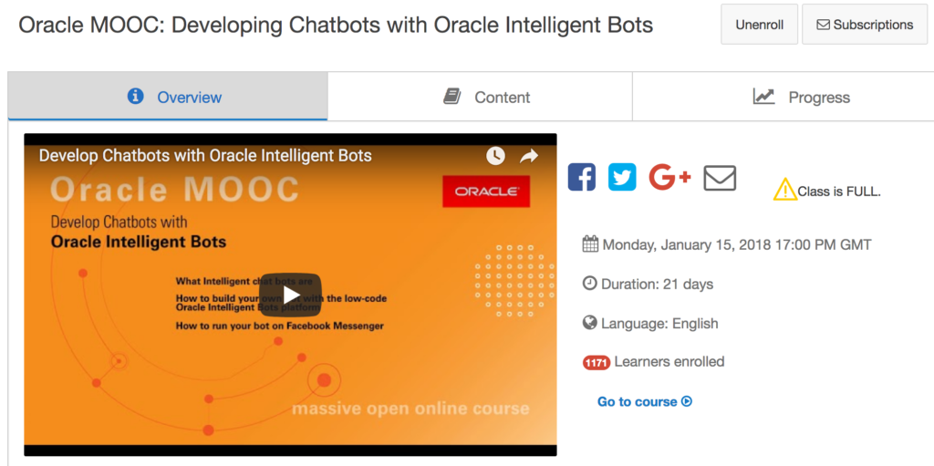 Oracle chatbot MOOC